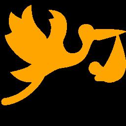 flying stork with bundle icon